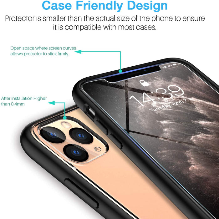 EGV [2 Pack Screen Protector + [2 Pack] Camera Lens Protector for iPhone 11 Pro(5.8'') Tempered Glass, [Easy Installation Tray]