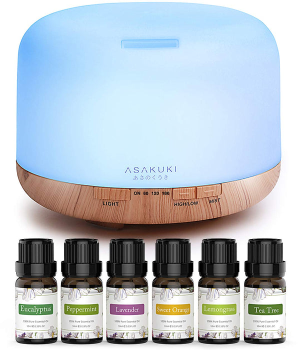 ASAKUKI 500ml Premium 5 In 1 Ultrasonic Aromatherapy Fragrant Oil Vaporizer Humidifier, Timer and Auto-Off Safety Switch, 7 LED Light Colors
