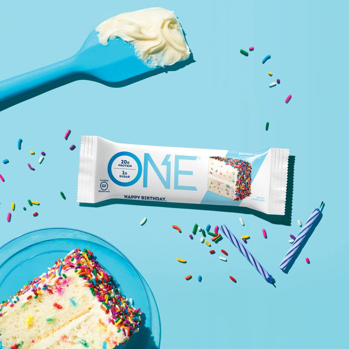 ONE Protein Bars, Birthday Cake, Gluten Free Protein Bars with 20g Protein and only 1g Sugar, 2.12 oz (12 Pack)