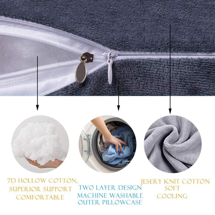 SWDPORT U Shaped Pregnancy Pillow, Full Body Maternity Pillows, Support Abdomen/Waist/Back/Head (Gray)