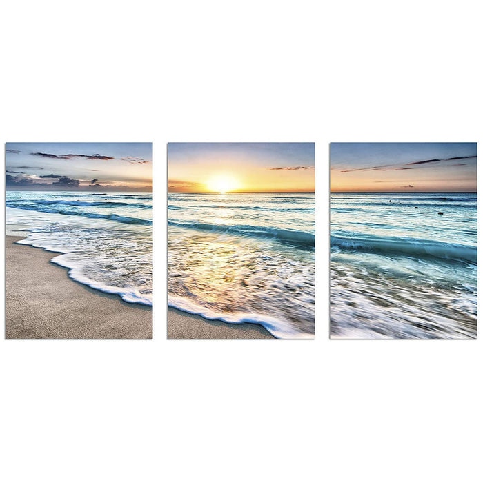 TutuBeer 3 Panel Beach Canvas Wall Art for Home Decor Blue Sea Sunset White Beach Painting The Picture Print On Canvas Seascape The Pictures