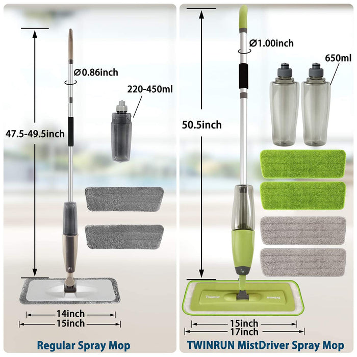 MistDriver Floor Cleaning Spray Mop with 4 Extra Large Microfiber Pads and 2 High Capacity Bottles