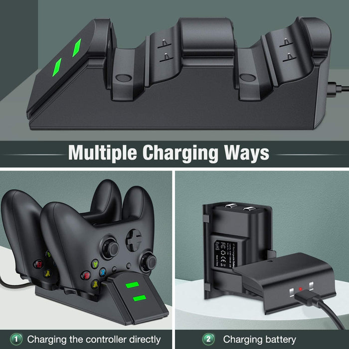 Xbox Controller Charging Station for Xbox One/One X/One S/One Elite, Xbox One Charger with 2 x 1200mAh Rechargeable Battery Packs