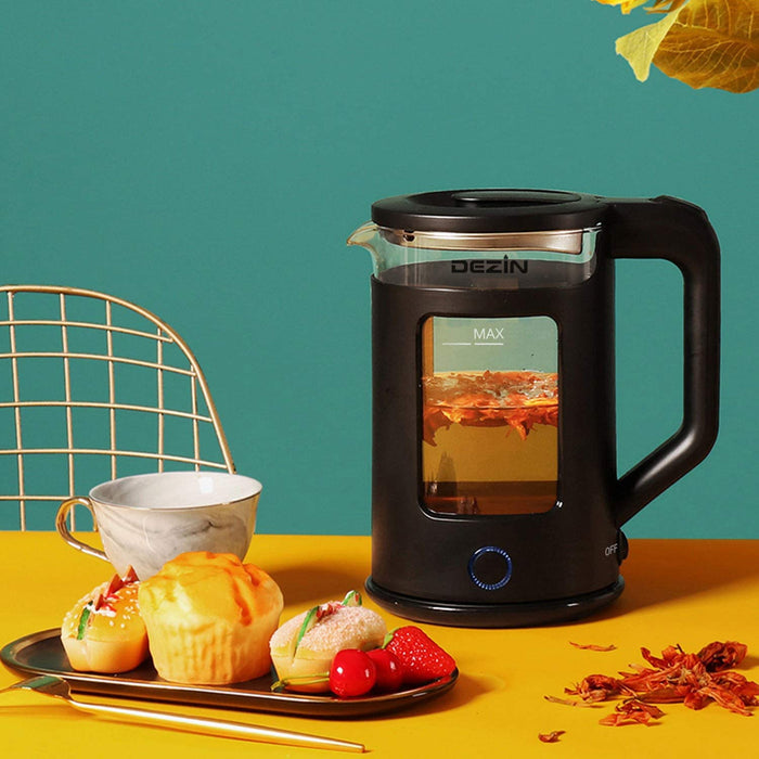 COMFEE' Glass Electric Tea Kettle & Hot Water Boiler(BPA-Free), 1.7L, 1500W Fast Boil, Auto Shut-Off and Boil-Dry Protection