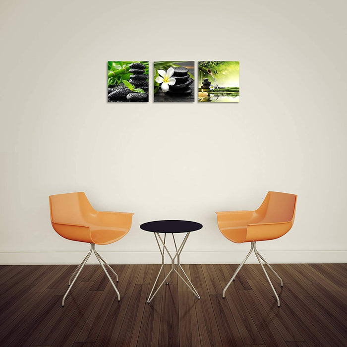 TutuBeer 3 Panel Zen Canvas Wall Art Still Life SPA Stone Green Bamboo White Frangipani Flower Pictures Prints on Canvas  12x12inch