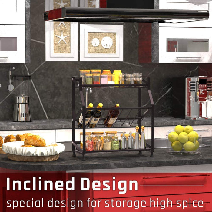 Spice Rack 2-Tier iSPECLE Kitchen Bathroom Organizer Countertop Storage Shelf Holder Standing Rack by iSPECLE