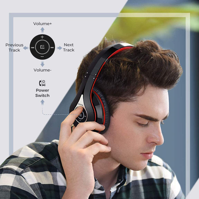 Mpow 059 Bluetooth Headphones Over Ear, Hi-Fi Stereo Wireless Headset, Foldable, w/Built-in Mic Wired Mode