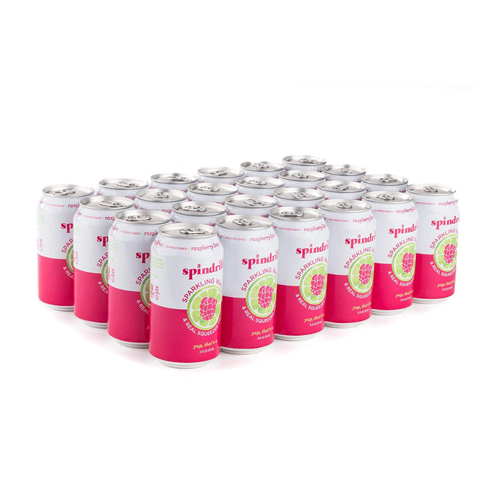 Spindrift Sparkling Water, Raspberry Lime Flavored, Only 9 Calories per Seltzer Water Can, 12 Fl Oz Cans, Pack of 24