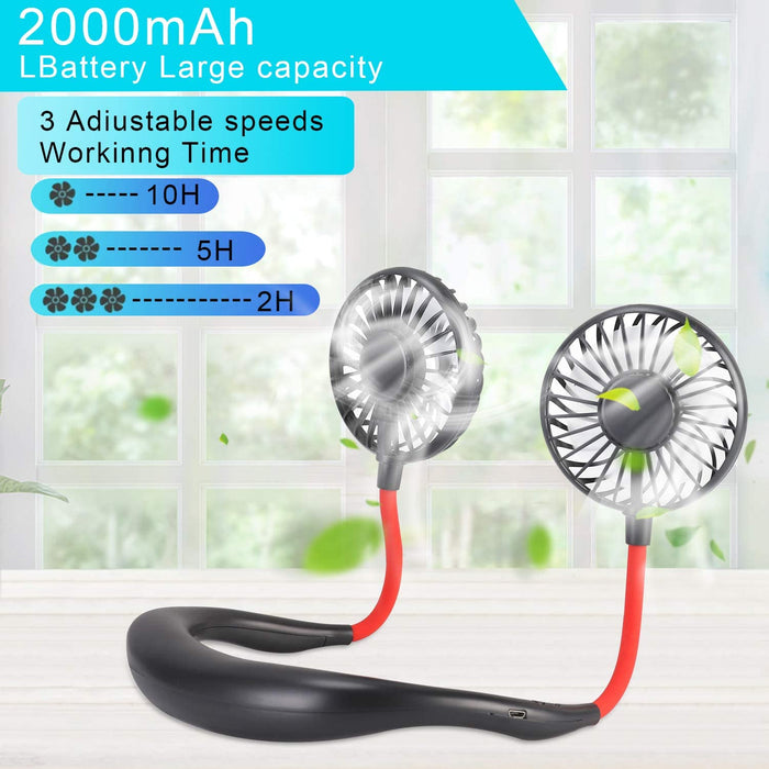Sports Hand Free Fan Rechargeable Mini USB Fan with 2000mAh Battery, Dual Wind Head for Running Travel Camping Office