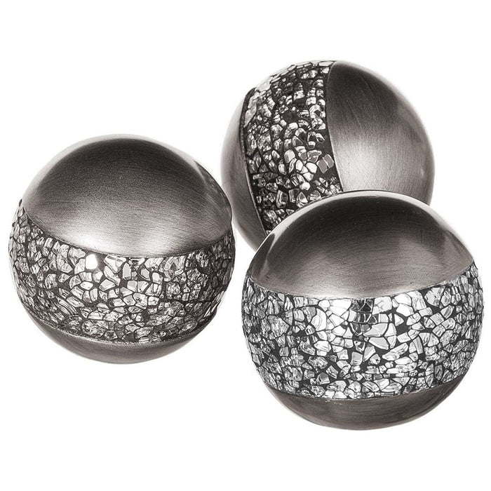 Creative Scents Schonwerk Silver Decorative Orbs for Bowls and Vases (Set of 3) Resin Sphere Balls  (Crackled Mosaic)