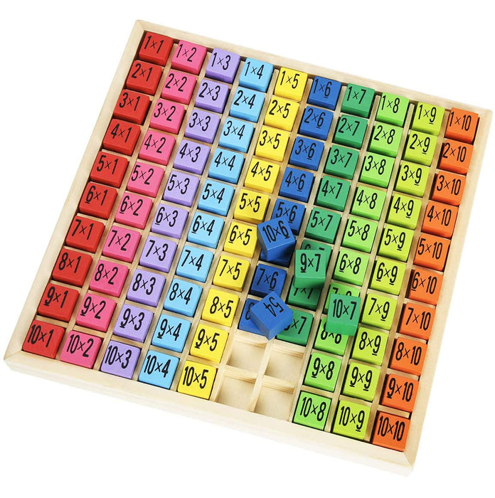 ROBUD Wooden Multiplication & Math Table Board Game, Kids Montessori Preschool Learning Toys Gift  - 100 Cubes Wooden Building Blocks