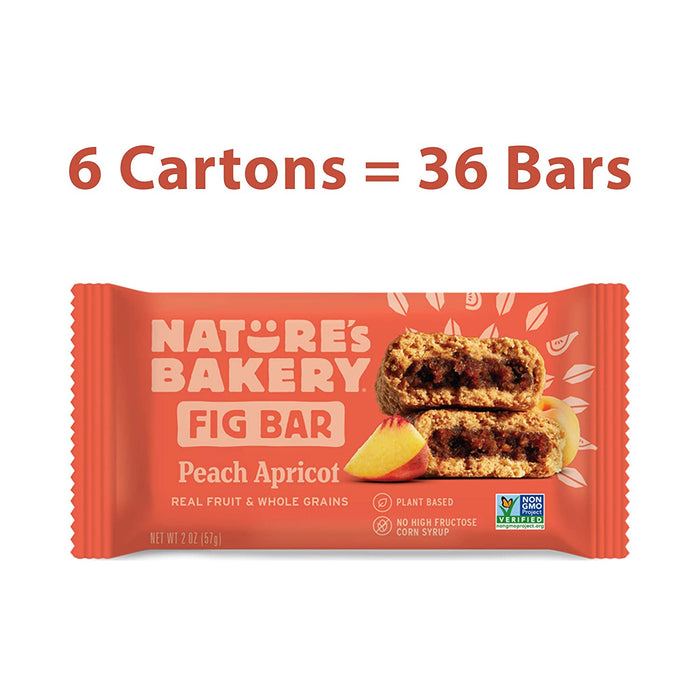 Nature's Bakery Whole Wheat Fig Bars, Peach Apricot, Real Fruit, Vegan, Non-GMO, Snack bar, 6 boxes with 6 twin packs (36 twin packs)