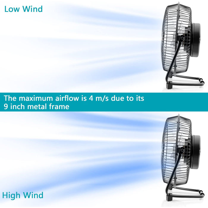 OPOLAR Battery Powered Rechargeable Desk Fan with 6700mAh, Battery Operated USB Fan with Long Working Time, Whisper Quiet, 9 INCH