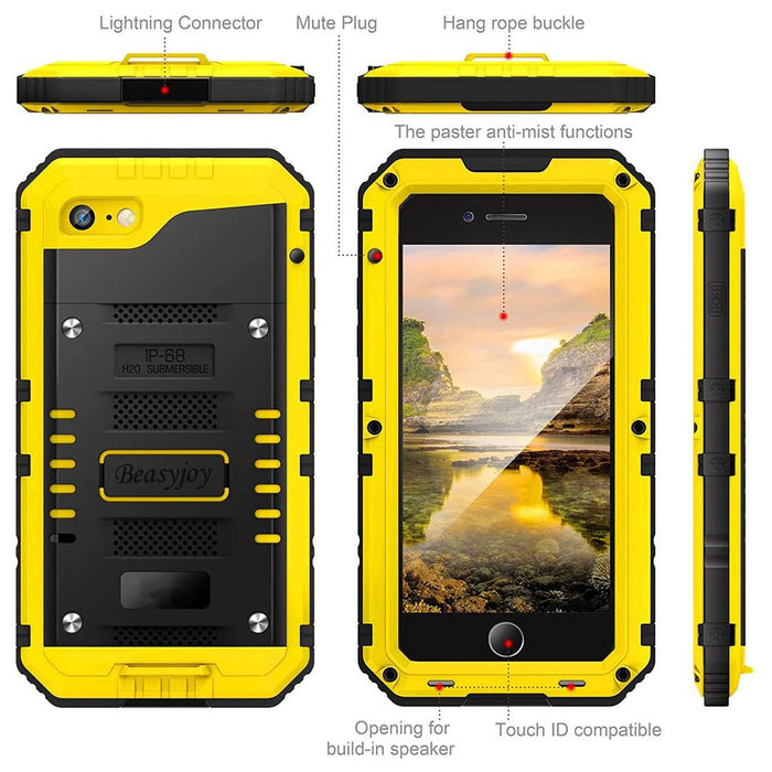 Beasyjoy iPhone 8 Case iPhone 7 SE Metal Case Waterproof Heavy Duty with Screen Full Body Protective Three Layers Shockproof Yellow