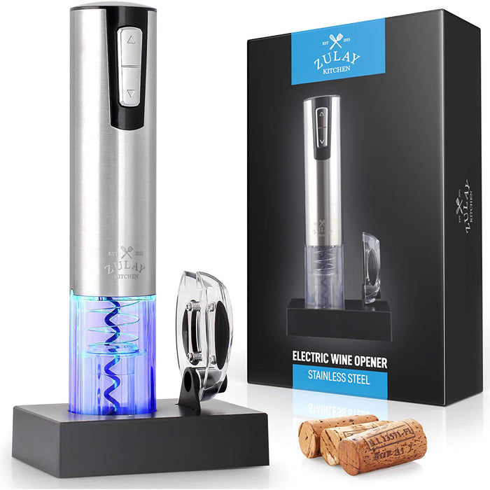 Zulay Electric Wine Opener With Charging Base and Foil Cutter - Stainless Steel Automatic Wine Bottle Opener