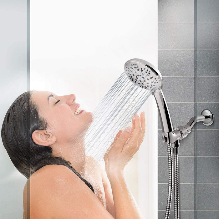 Apthrill High Pressure Handheld Shower Head – 9 Spray Modes Hand Held Shower Head with 60 Inch Hose (Chrome)