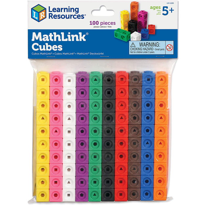 Learning Resources MathLink Cubes, Homeschool, Educational Counting Toy, Math Cubes, Linking Cubes, Set of 100 Cubes, Ages 5+