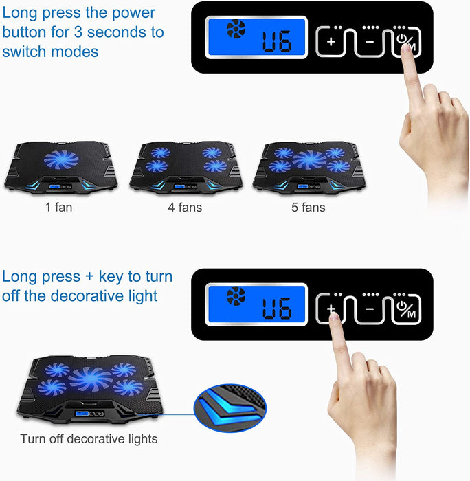 TopMate C5 12-15.6 inch Gaming Laptop Cooler Cooling Pad, 5 Quiet Fans and LCD Screen, 5 Heights Adjustment, 2 USB Port and Blue LED Light