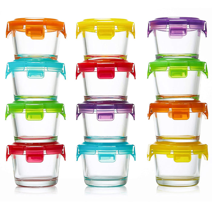 Glass Baby Food Storage Containers with Lids | Set of 12 | 4 oz Glass Food Containers | Freezer Storage