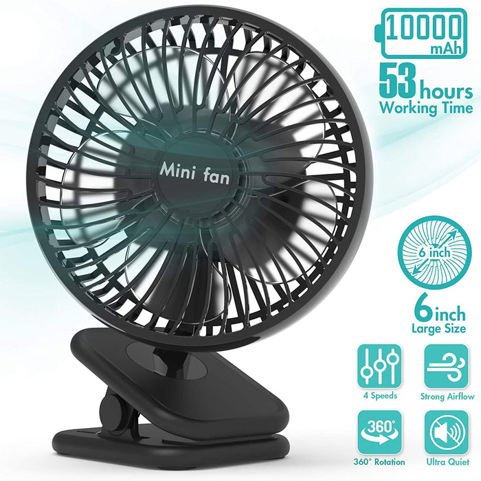 10000mAh Battery Operated USB Desk Fan With Up to 53H Long Working Time, 4 Speeds, Fast Air Circulation