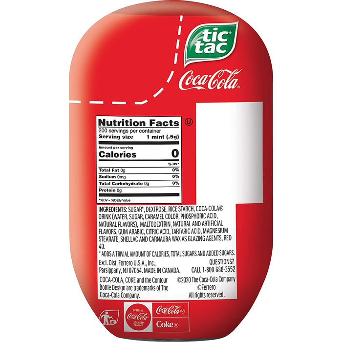 Tic Tac Coca Cola Fresh Breath Mints, 3.4 oz, 8 Count Bottle Packs