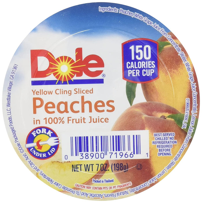 Dole Sliced Peach in 100% Juice, 7-Ounce Cups (Pack of 12)