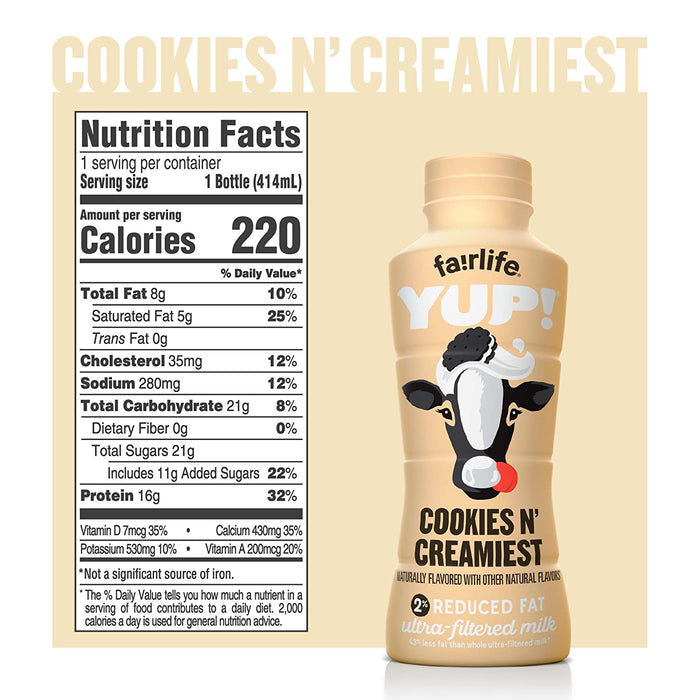 fairlife YUP! Low Fat Ultra-Filtered Milk, Cookies & Creamiest, 12 Count