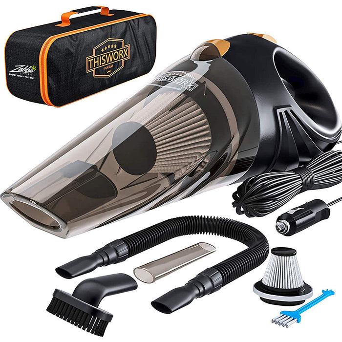 Portable Car Vacuum Cleaner: High Power Corded Handheld Vacuum w/ 16 foot cable - 12V - Best Car & Auto Accessories Kit