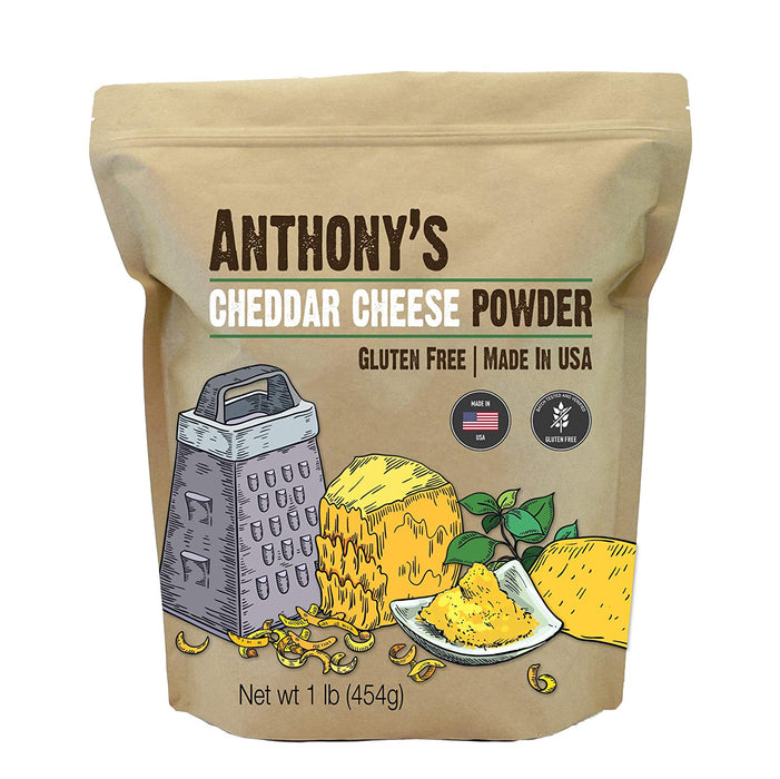 Anthony's Premium Cheddar Cheese Powder, 1 lb, Batch Tested and Verified Gluten Free, No Artificial Colors, Keto Friendly
