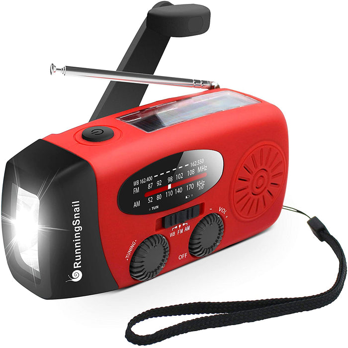 RunningSnail Emergency Hand Crank Self Powered AM/FM NOAA Solar Weather Radio with LED Flashlight, 1000mAh Power Bank
