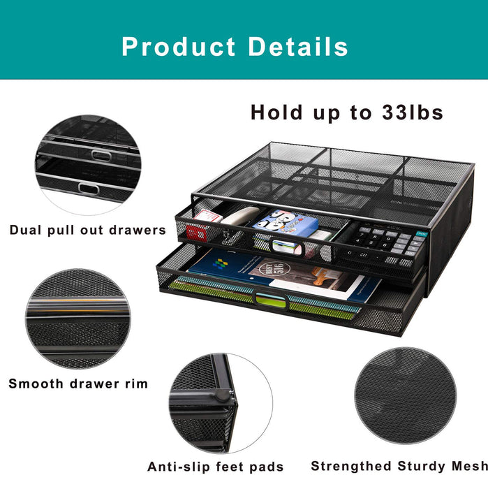 Monitor Stand Riser with Drawer - Metal Mesh Desk Organizer with Dual Pull Out Storage Drawer(Black)