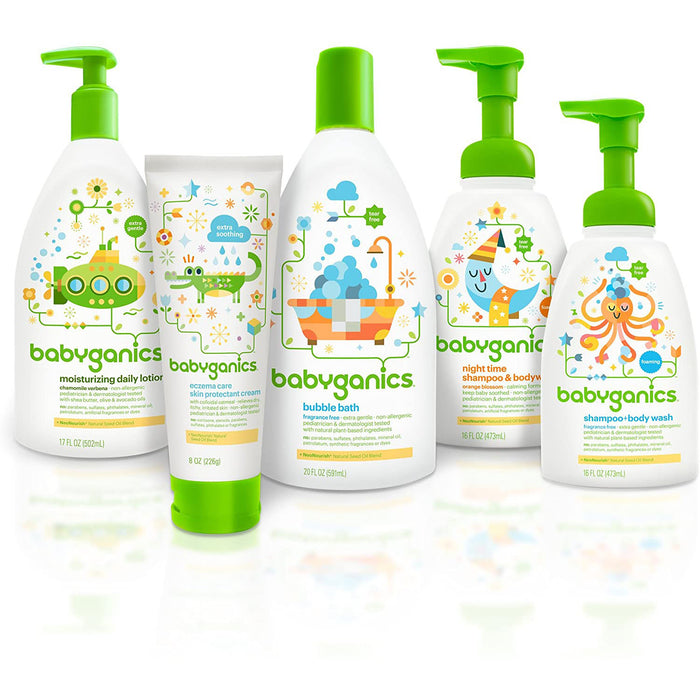 Babyganics Baby Shampoo + Body Wash Pump Bottle, Chamomile Verbena, 16oz, 3 Pack, Packaging May Vary
