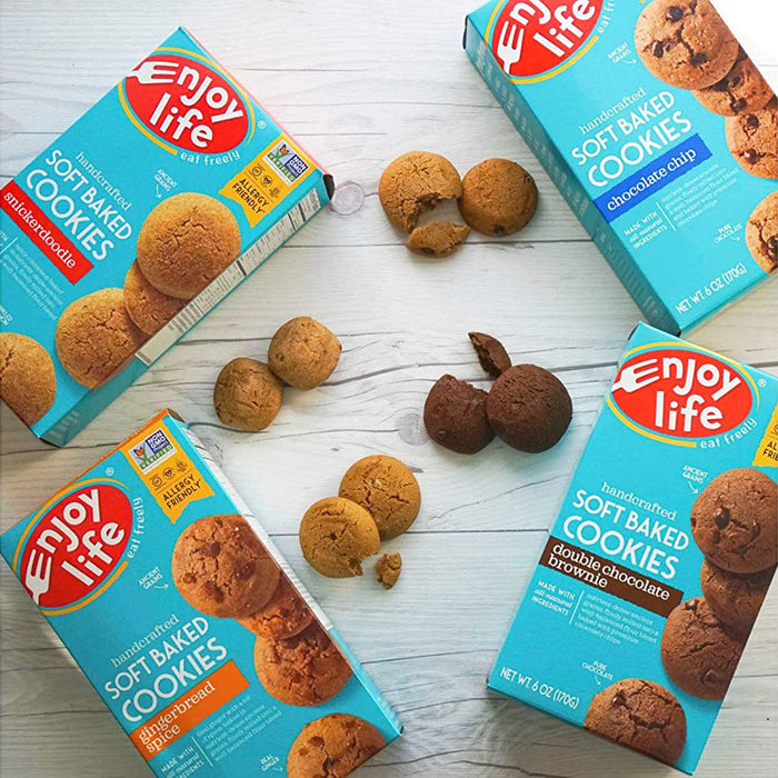 Enjoy Life Soft Baked Cookies, Soy free, Nut free, Gluten free, Dairy free, Non GMO, Vegan, Gingerbread Spice, 6 Boxes