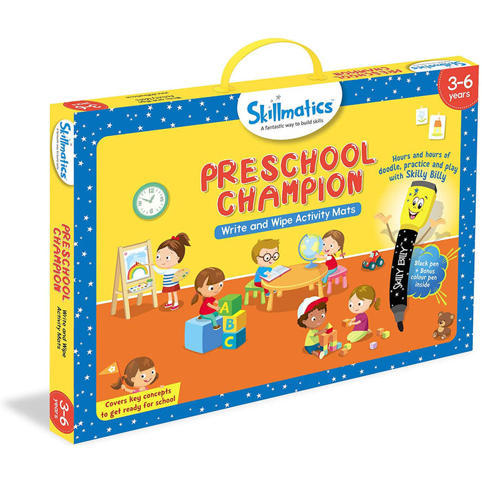 Skillmatics Educational Game: Preschool Champion (3-6 Years) | Erasable and Reusable Activity Mats with 2 Dry Erase Markers