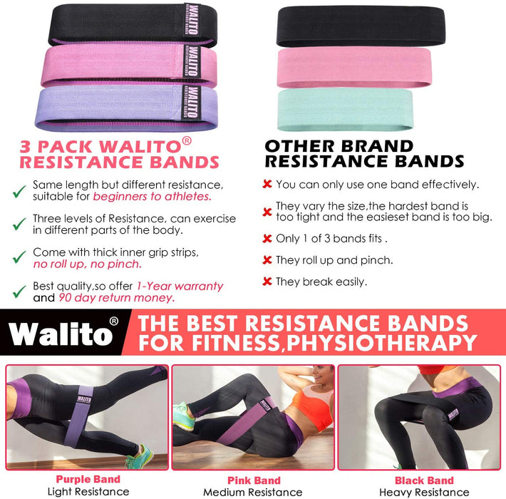 Walito Resistance Bands for Legs and Butt,Exercise Bands  Sports Fitness Bands Resistance Loops Band Anti Slip Elastic (Set 3)