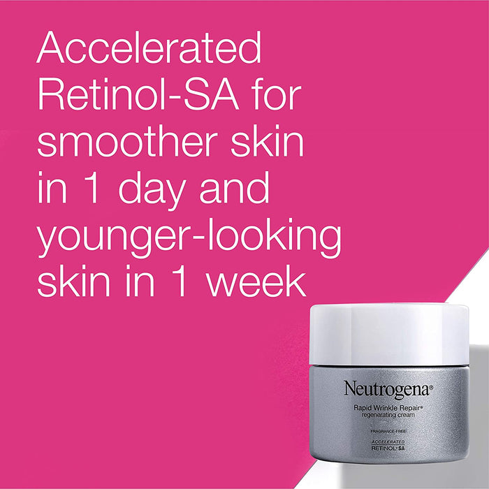Neutrogena Rapid Wrinkle Repair Retinol Cream, Anti-Wrinkle Face & Neck Cream with Hyaluronic Acid & Retinol, Fragrance-Free Moisturizer, 1.7 oz