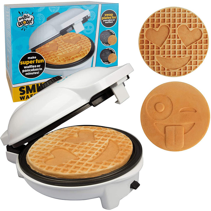 "Emoji Waffler & Pancake Maker w 2 Interchangeable Plates for Pancakes or Waffles- 8"" Electric Pan Cake Pan and Waffle Iron - Non-stick Electric Griddle"