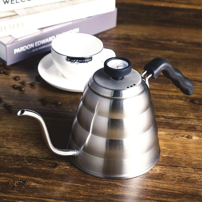 Stainless Steel Tea Coffee Kettle with Thermometer, Goose neck Thin Spout for Pour Over Coffee Pot, Works on Stovetop, 40oz/1.25L