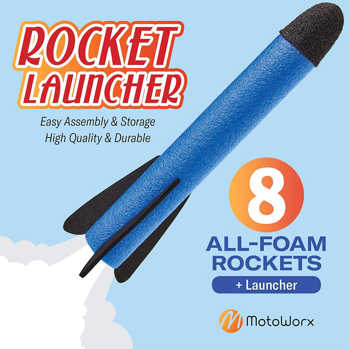 Shoots Up to 100 Feet – 8 Colorful Foam Rockets and Sturdy Launcher Stand With Foot Launch Pad  - Gift Toys for Age 3+ Years Old