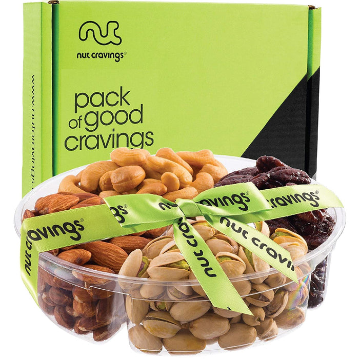 Gourmet Gift Basket Assortment, Fresh Nuts Mix Tray (4 Variety) - Birthday Party Food Arrangement Platter