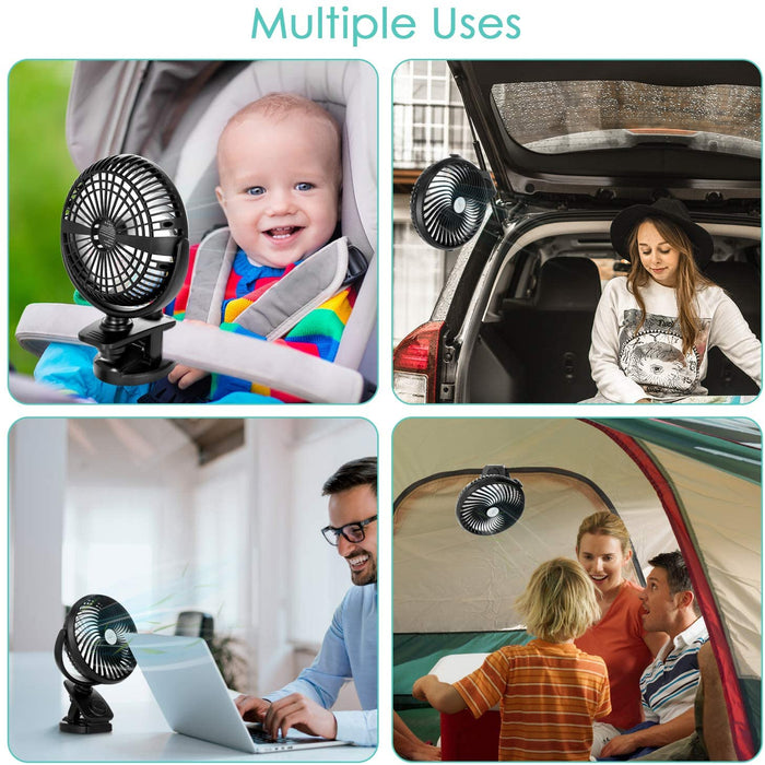 5000mAh Battery Powered Stroller Fan  60/90°Auto Oscillation & 350°Manual Adjustment, Aroma Diffuser Function