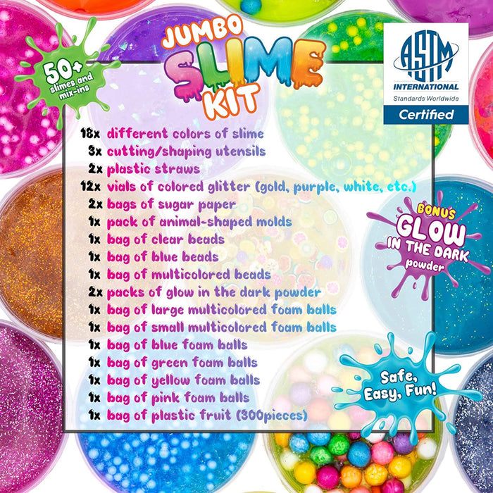 DIY Slime Kit for Girls Boys - Ultimate Glow in the Dark Glitter Slime Making Kit Arts Crafts -18 Mystery Box