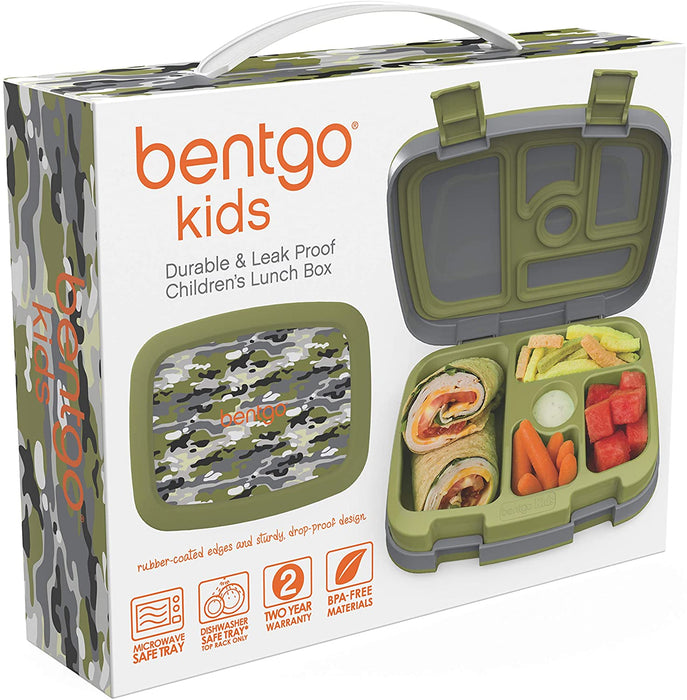 Bentgo Kids Prints (Camouflage) - Leak-Proof,  Ideal Portion Sizes for Ages 3 to 7 - BPA-Free and Food-Safe Materials