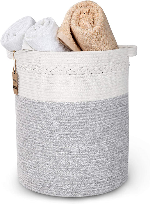 StarHug Large Woven Storage Basket - 20 x 18 inch Laundry Hamper – For Blankets, Throws, Pillows, Toys, Nursery - 100% Cotton Rope