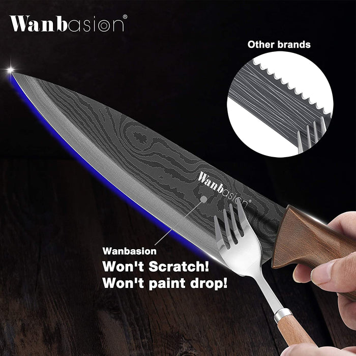 Wanbasion Matte Black Titanium Plated Stainless Steel Kitchen Knife Set,Dishwasher Safe Kitchen Knife Set with Damascus Style