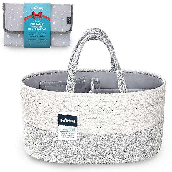 StarHug Baby Diaper Caddy Organizer – Baby Shower Gift Basket with 2 Inner Pockets,  100% Cotton Rope(Diaper Caddy + Changing Pad)