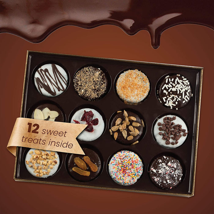Barnett's Chocolate Cookies Gift Basket, Gourmet Christmas Holiday Corporate Food Gifts in Elegant Box, 12 Unique Flavors