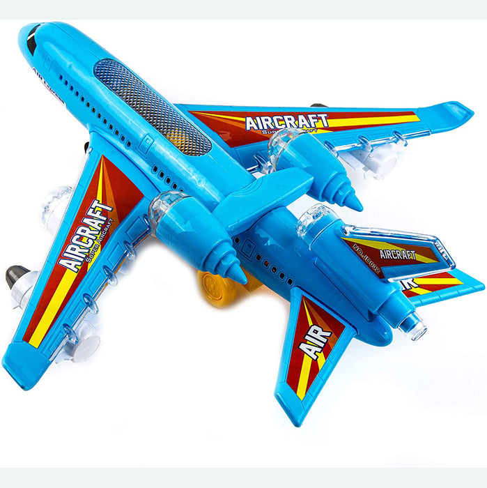 Bump and Go Action with 360 Degree Rotation - Toy Plane with Attractive LED Flashing Lights and Sounds