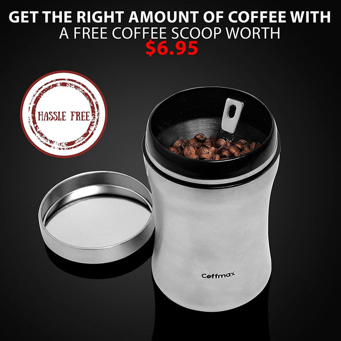Coffmax Coffee Canister Jar - Airtight Container with Measuring Scoop Spoon – Stainless Steel Sealed Whole Beans or Grounds Keeper Holder - Kitchen Storage Vault Tin