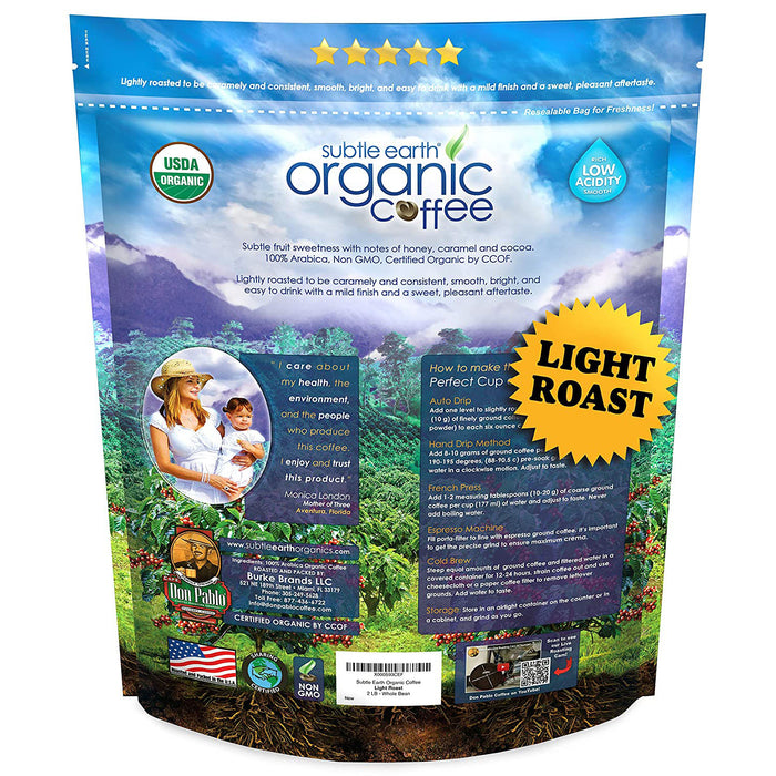 2LB Subtle Earth Organic Coffee - Light Roast - Whole Bean - Organic Arabica Coffee - (2 lb) Bag